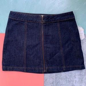 Altar'd State New Denim Jean ZIP Up Mini Skirt